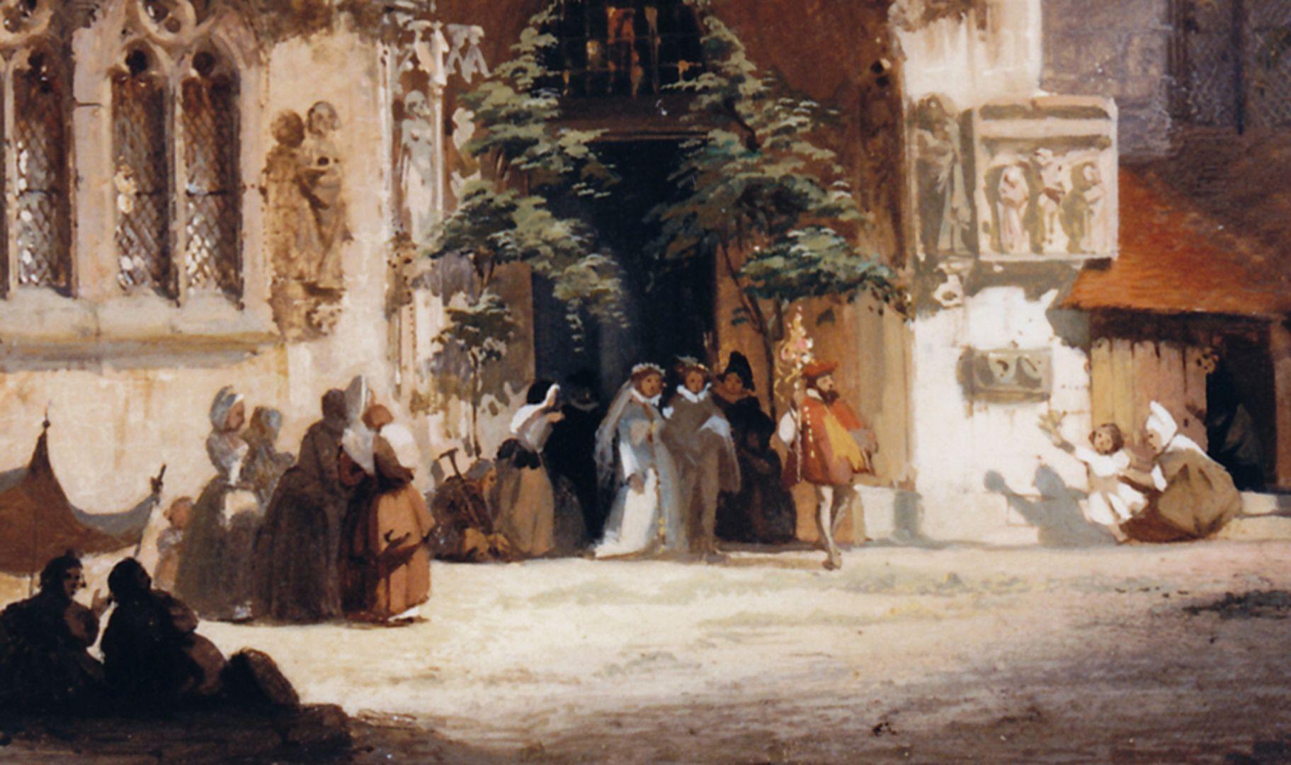 Bridal portal at the Sebaldus Church Detail with wedding party