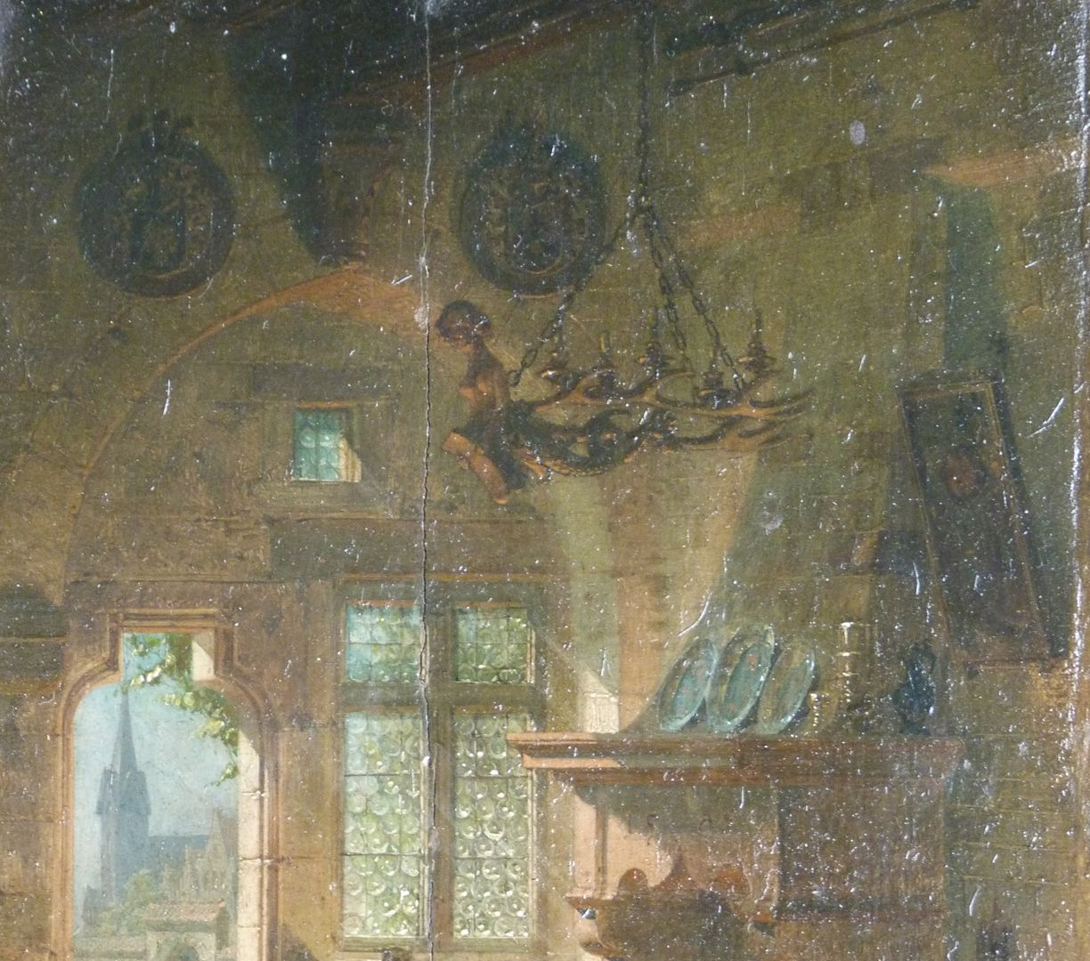 Fireplace room Upper part of the painting with funerary shields and female candelabra