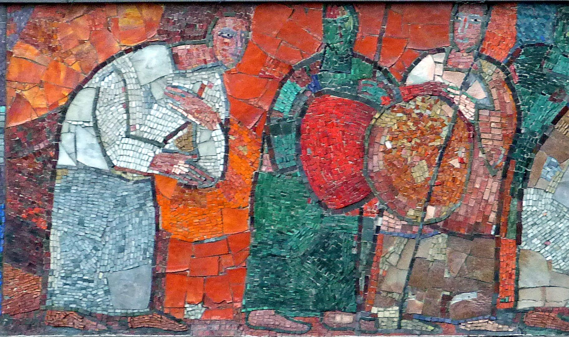 Mosaic on the Main Market (Hauptmarkt) in Nuremberg Buyers and sellers