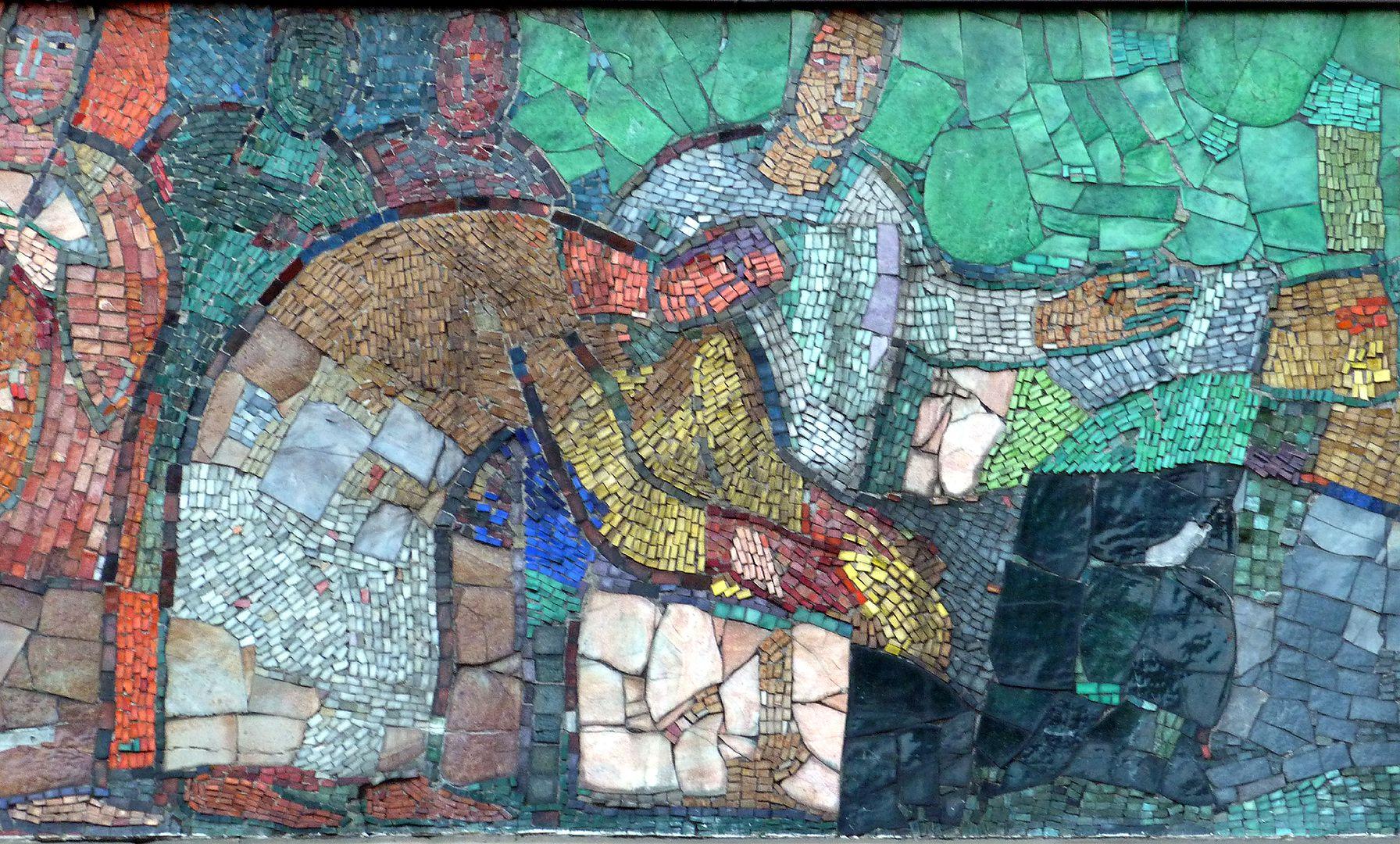 Mosaic on the Main Market (Hauptmarkt) in Nuremberg Traders