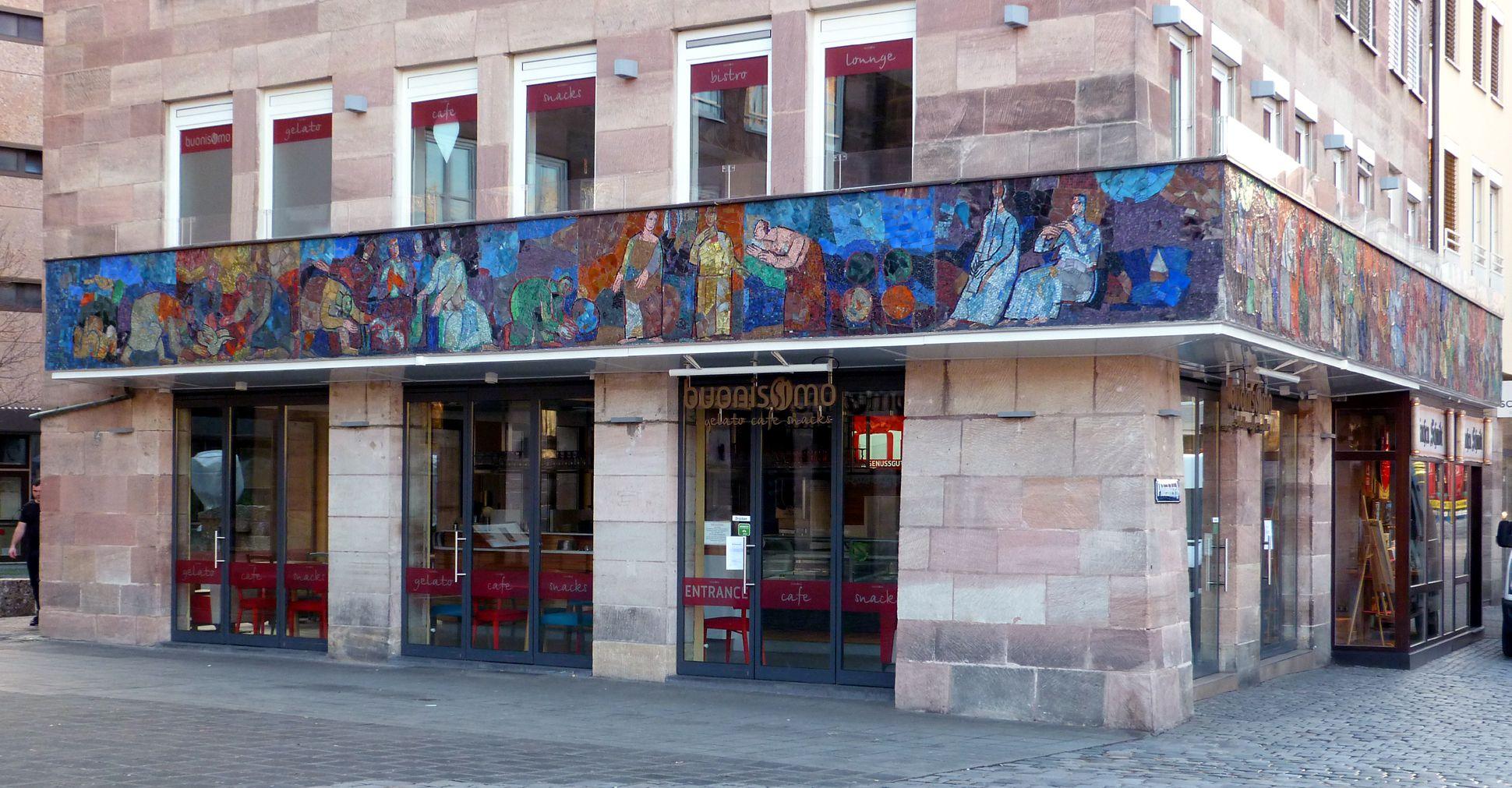 Mosaic on the Main Market (Hauptmarkt) in Nuremberg North side