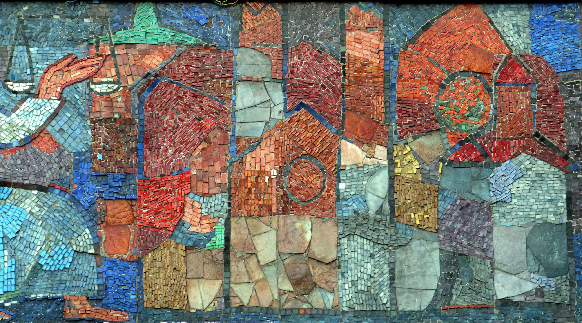 Mosaic on the Main Market (Hauptmarkt) in Nuremberg Abstracted Nuremberg buildings: City Wall Tower , St. Lorenz-Church, Our Lady´s Church