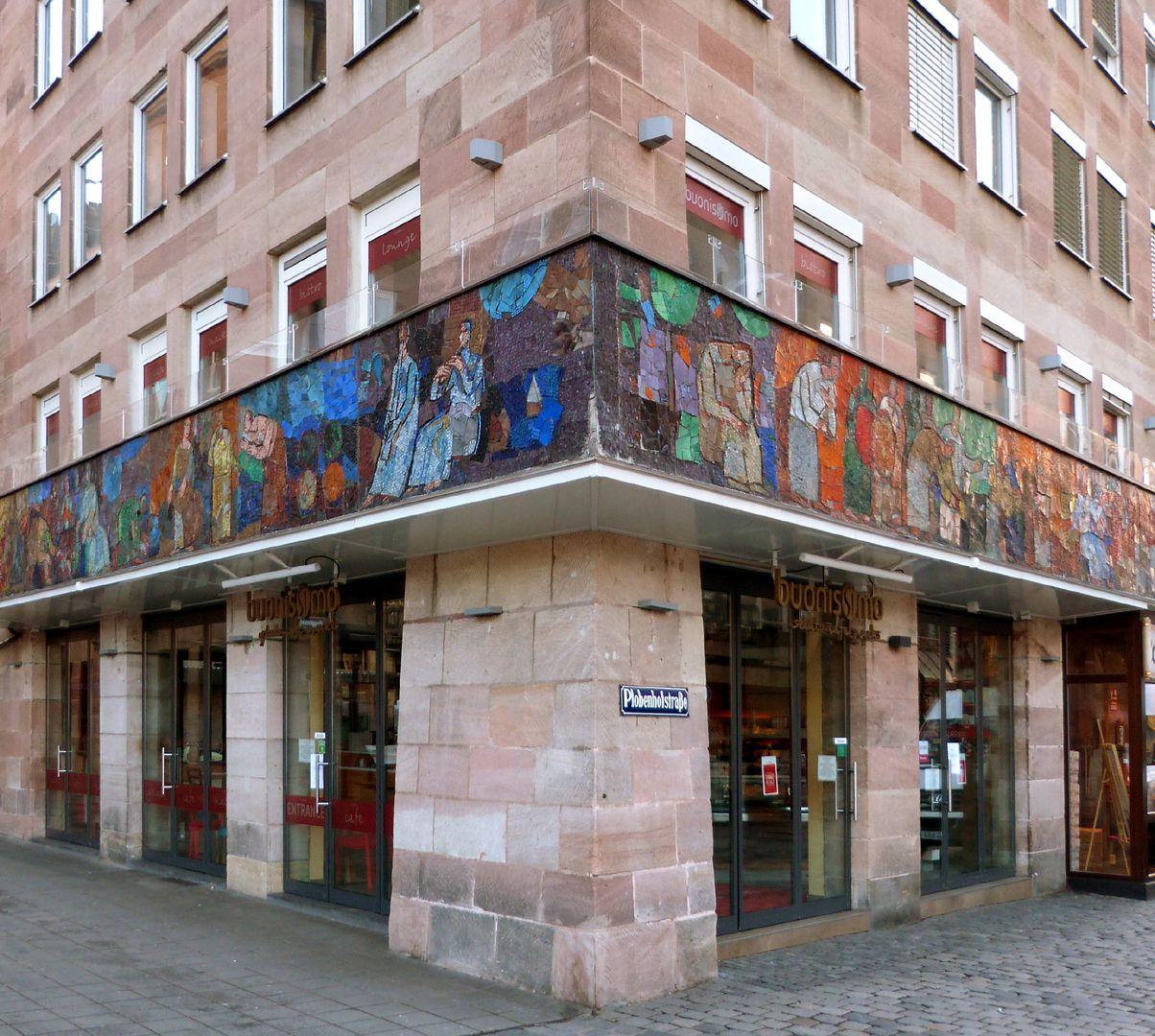 Mosaic on the Main Market (Hauptmarkt) in Nuremberg Corner