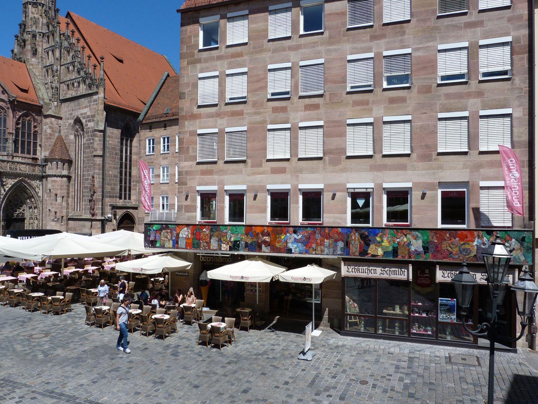 Mosaic on the Main Market (Hauptmarkt) in Nuremberg West side