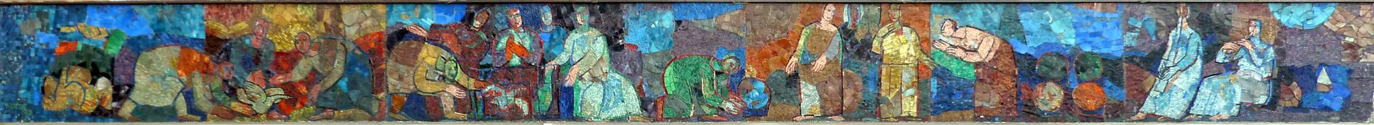 Mosaic on the Main Market (Hauptmarkt) in Nuremberg Mosaic strip of the north side
