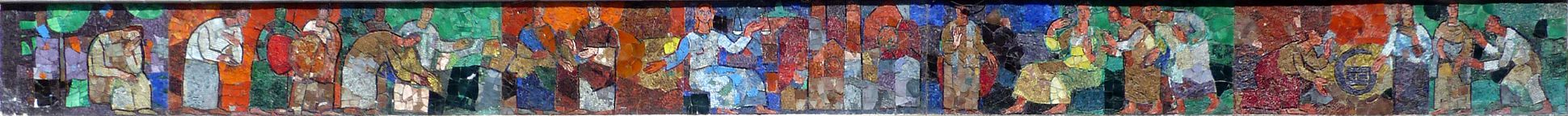 Mosaic on the Main Market (Hauptmarkt) in Nuremberg Mosaic strip of the west side