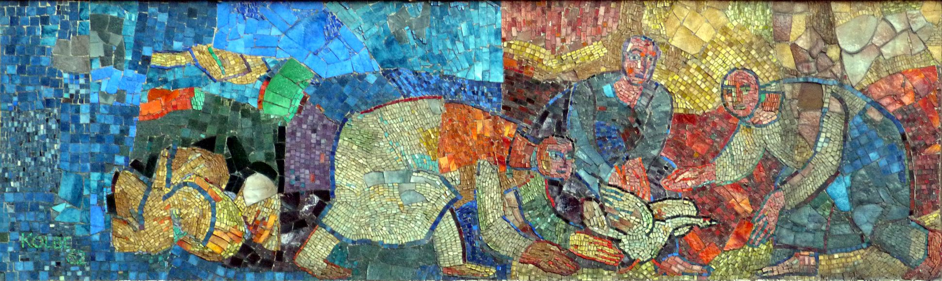 Mosaic on the Main Market (Hauptmarkt) in Nuremberg Starting scenes of the north mosaic strip with escaping goose