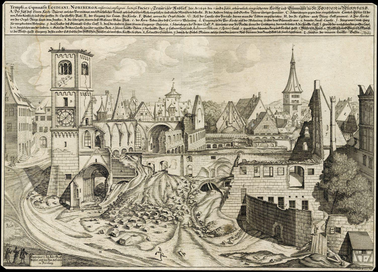 """""""Urbis Norimbergensis Insigniorum Templorum…"""" Ruin of Egidien-Church"""