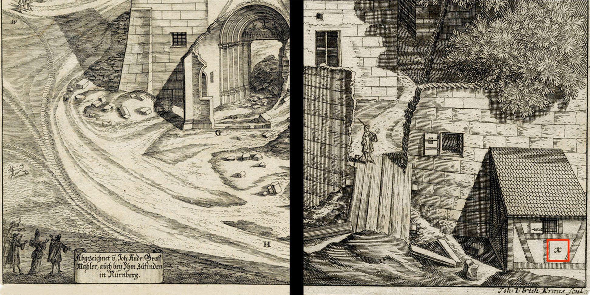 """Urbis Norimbergensis Insigniorum Templorum…"" Ruin of Egidien-Church Left and right lower corners of the sheet"