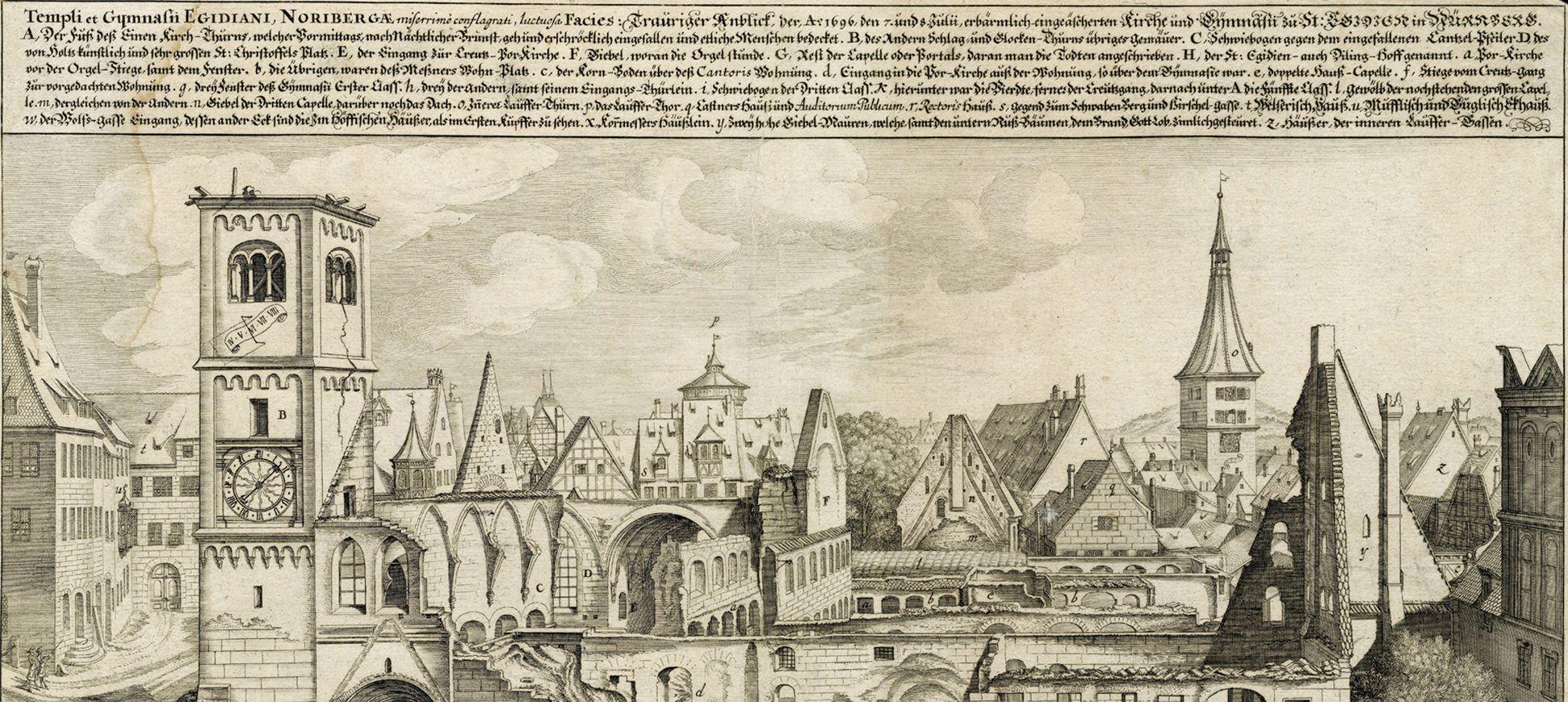 """""""Urbis Norimbergensis Insigniorum Templorum…"""" Ruin of Egidien-Church Upper half of the sheet"""