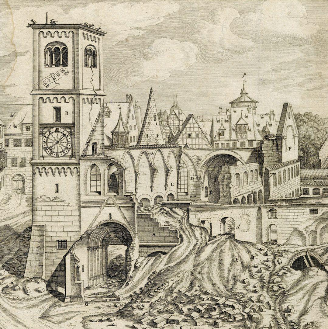 """""""Urbis Norimbergensis Insigniorum Templorum…"""" Ruin of Egidien-Church Left half of the sheet, section"""
