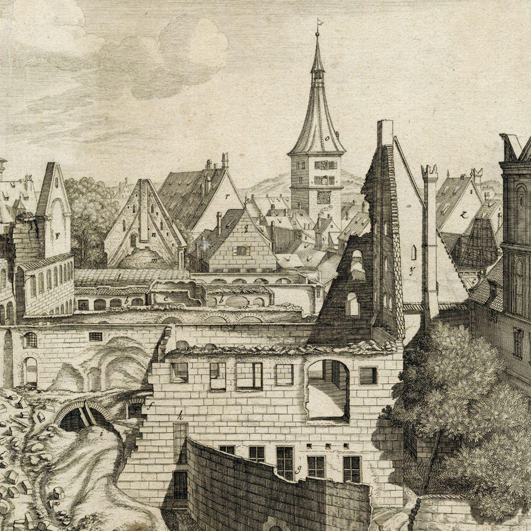 """""""Urbis Norimbergensis Insigniorum Templorum…"""" Ruin of Egidien-Church Right half of the sheet, section"""