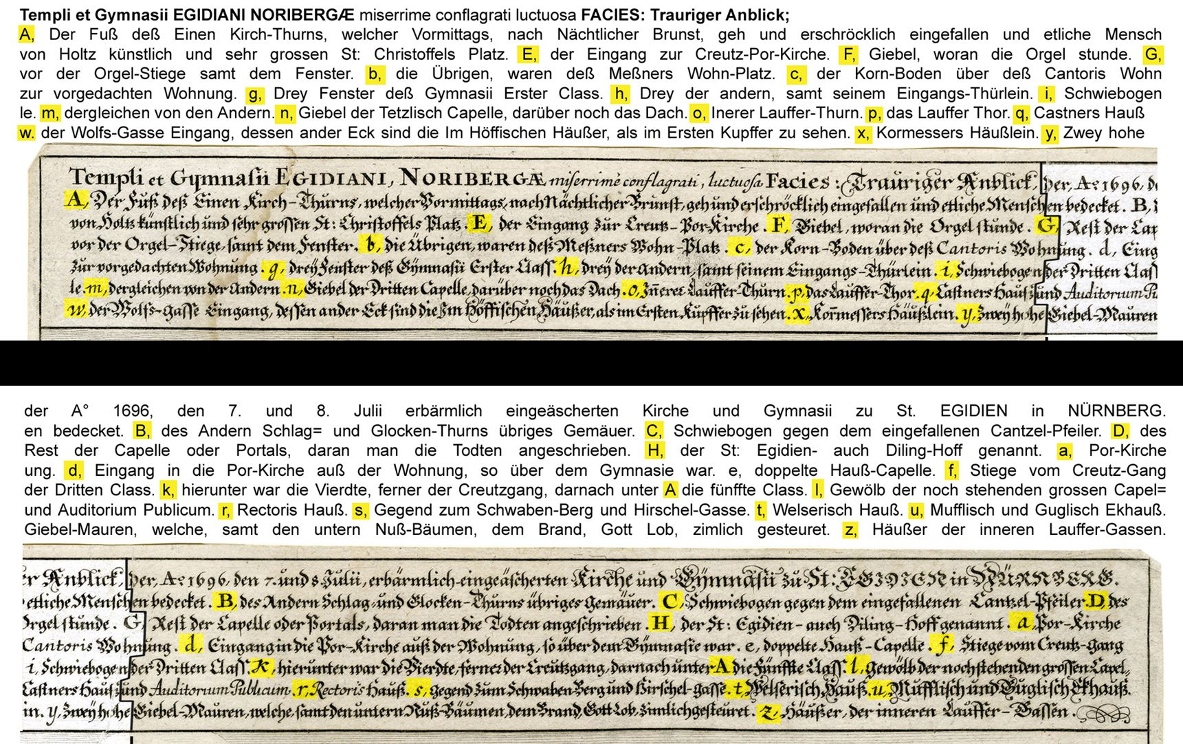 """""""Urbis Norimbergensis Insigniorum Templorum…"""" Ruin of Egidien-Church Image legend, left and right half of the sheet"""