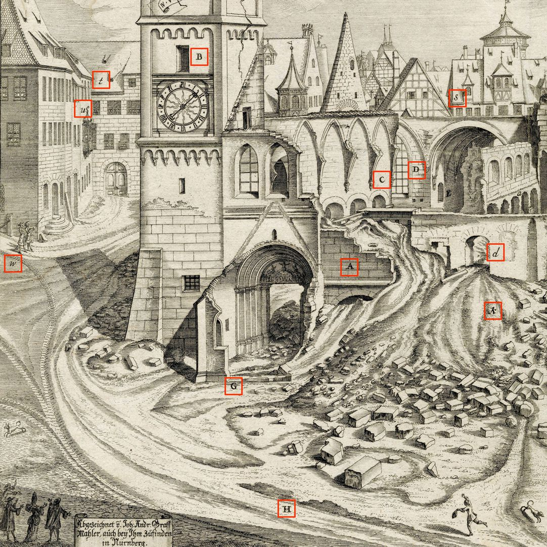 """Urbis Norimbergensis Insigniorum Templorum…"" Ruin of Egidien-Church Left half of the sheet, section with check marks"