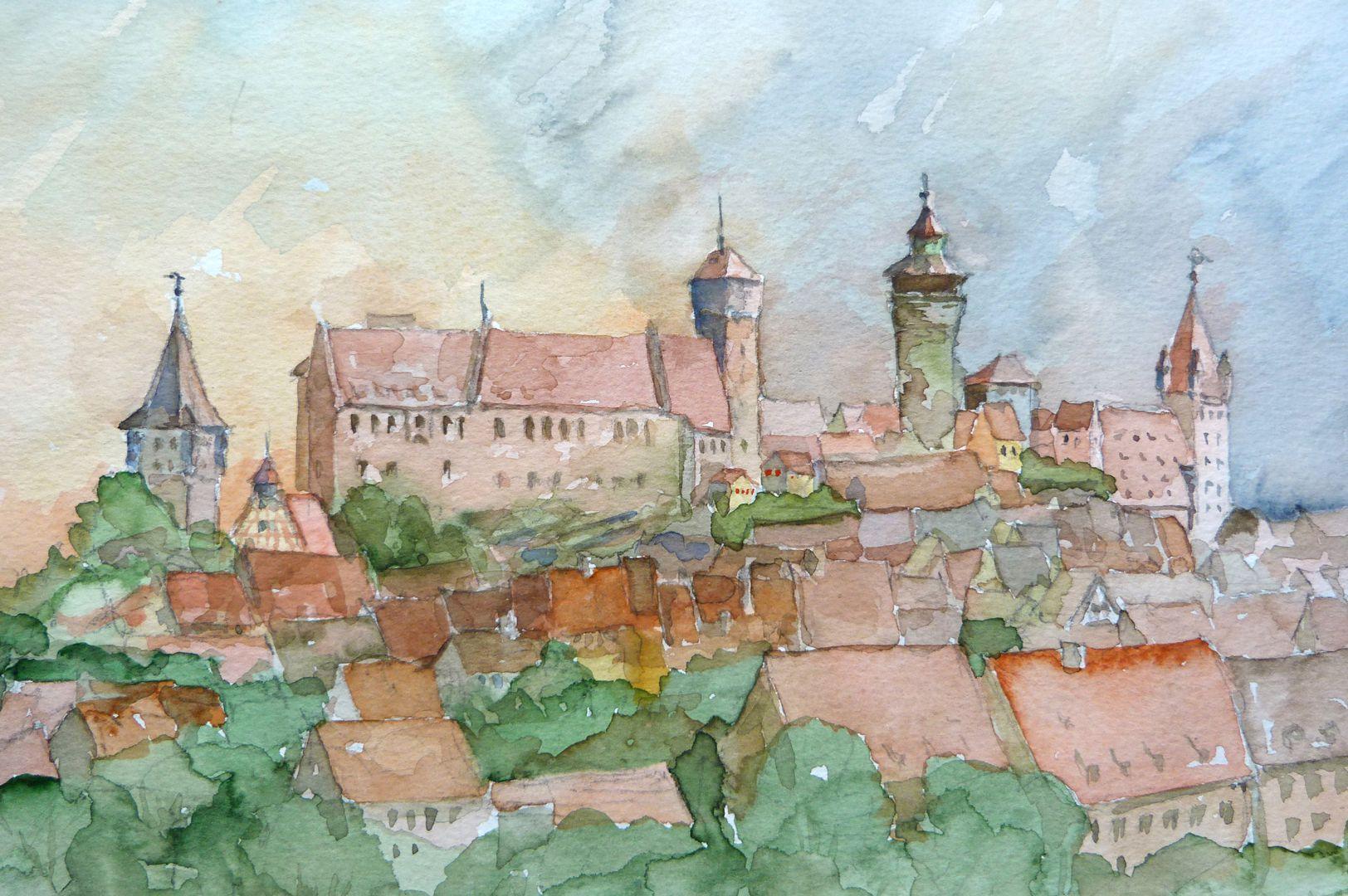 Nuremberg from Kreuzgasse Picture detail with Tiergärtnertorturm, castle and Luginsland