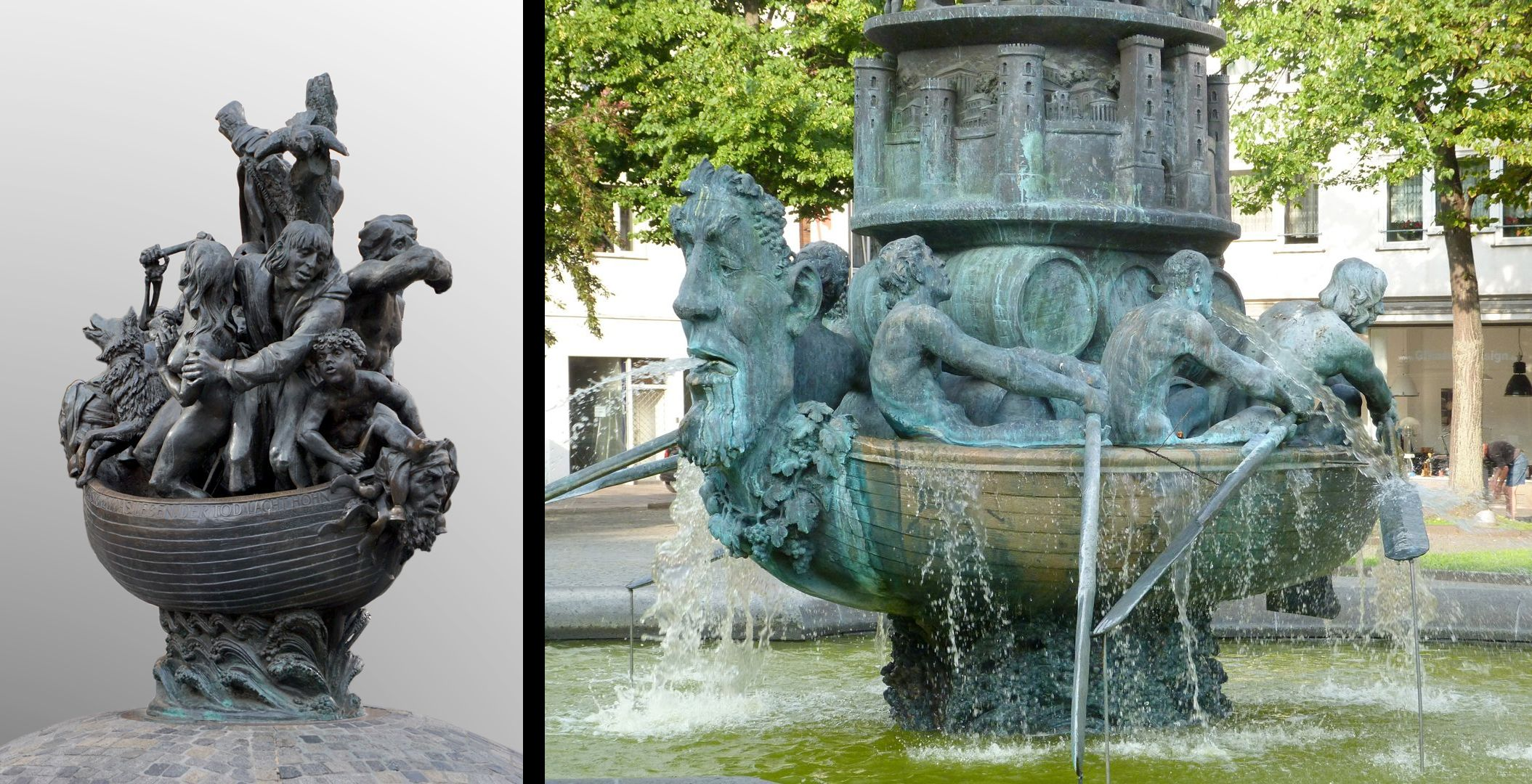 Ship of Fools Originally the Sip of Fools was designed as a fountain/ see for comparison the History Column in Coblenz