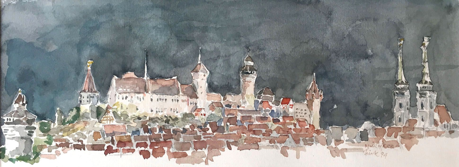 Nuremberg by night City silhouette from Neutorturm to Sebaldus Church