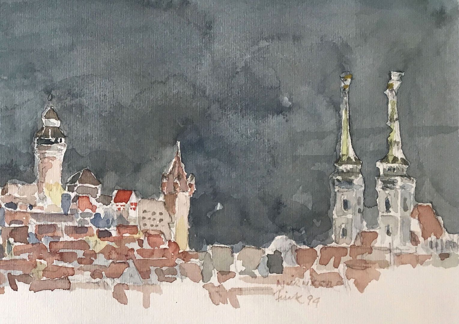 Nuremberg by night Detail: View over the city with Sinwell Tower, Walburgis Chapel, Luginsland and St. Sebald