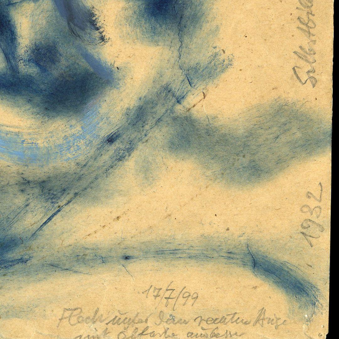 Self portrait Notiz am linken unteren Blattrand: Fläche unter dem rechten Auge mit Ölfarbe ausgebessert 17/7/99