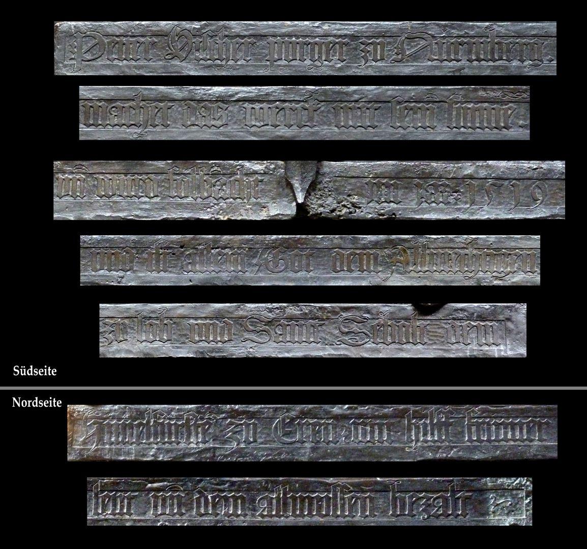 St. Sebaldus Tomb Am Sockel: Petter Vischer purger zu Nurmberg.machet das werck mit sein[en] sunne[n]. un[d] wurd folb[r]acht im jar 1519 und ist allein Got dem Allmechtigen zu lob und Sanct Sebolt dem Himelfürste[n] zu Eren mit hilff frumer leut un[d] dem allmussen bezalt
