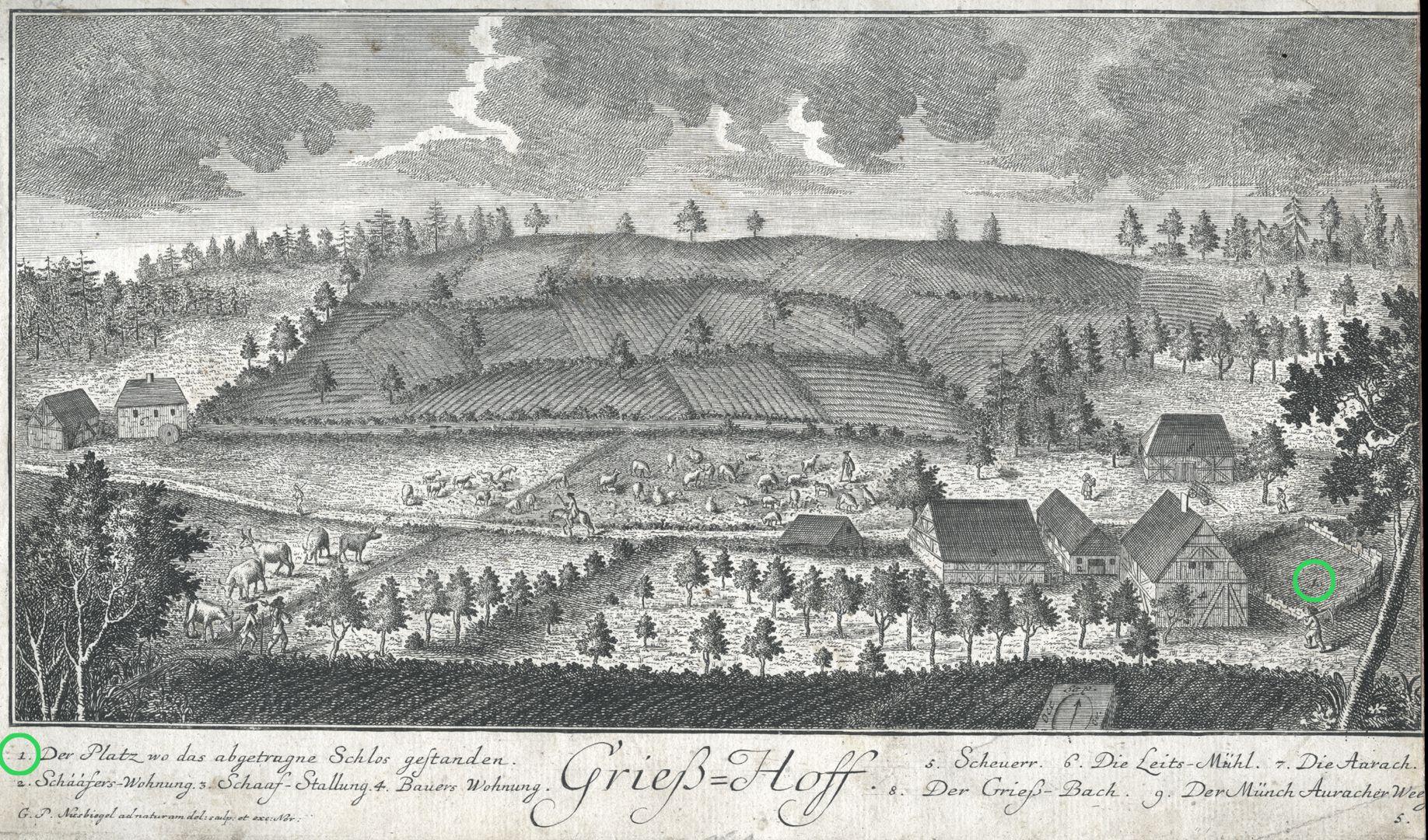 Grieß=Hoff  (Griess farm) Place where the demolished palace stood