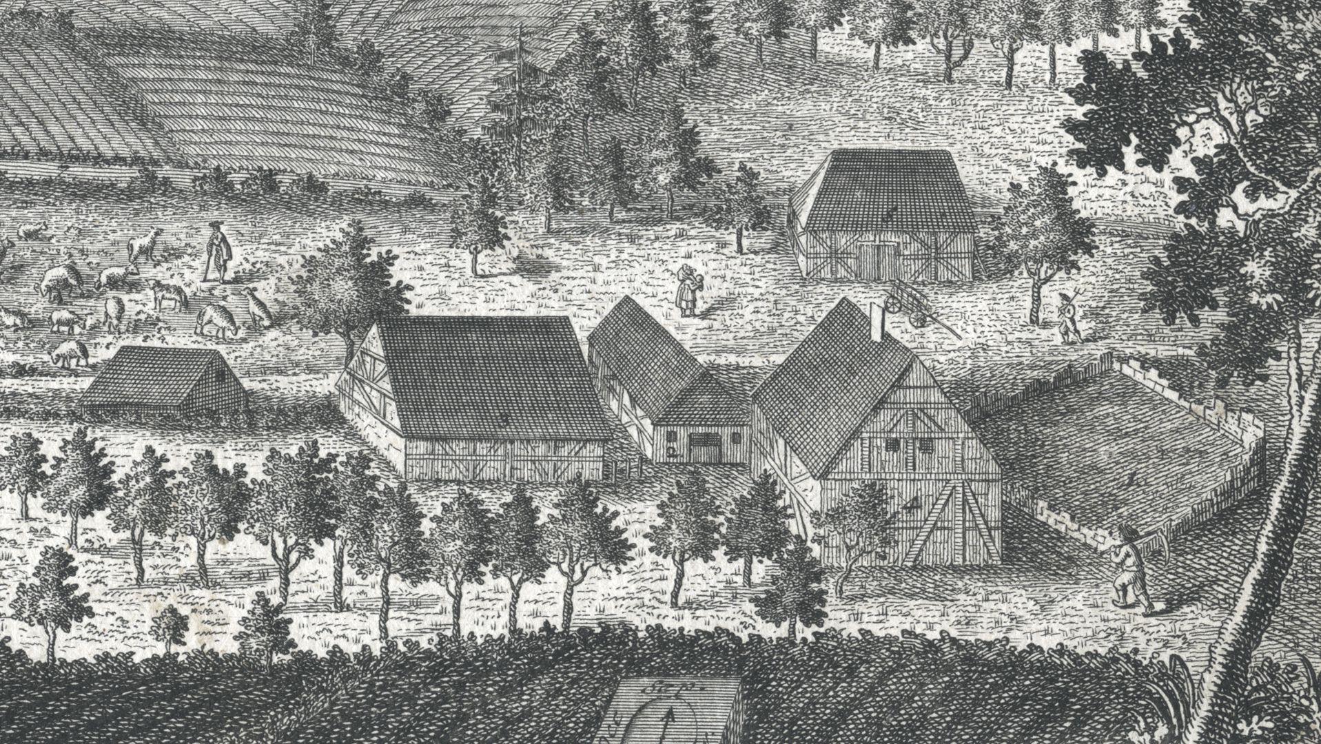 Grieß=Hoff  (Griess farm) Detail view with farm buildings