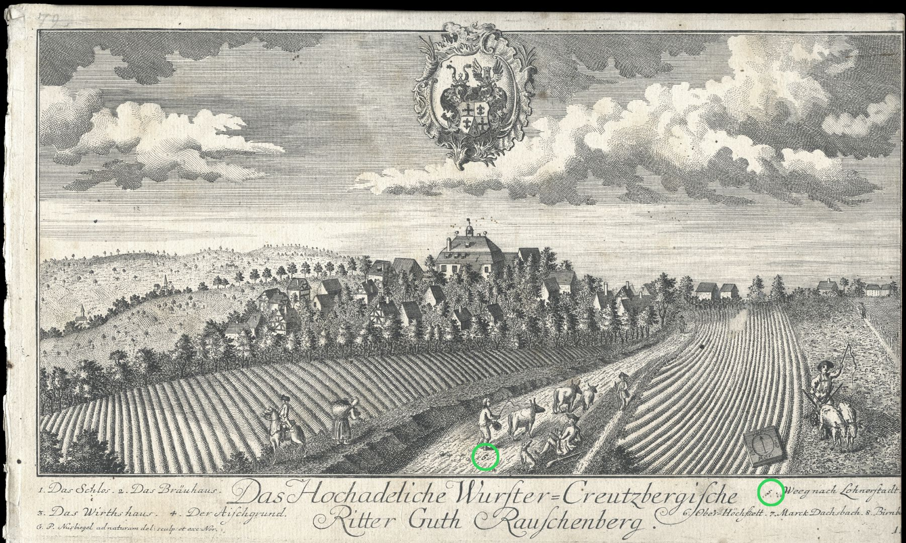 High-nobility-manor Rauschenberg of Wurster-Creutzberg Way to Lohnerstadt