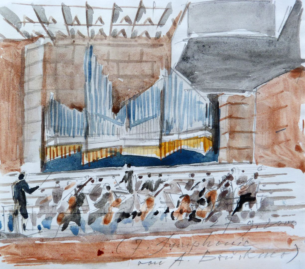 Organ front in Meistersingerhalle Nuremberg Sketch made during a concert