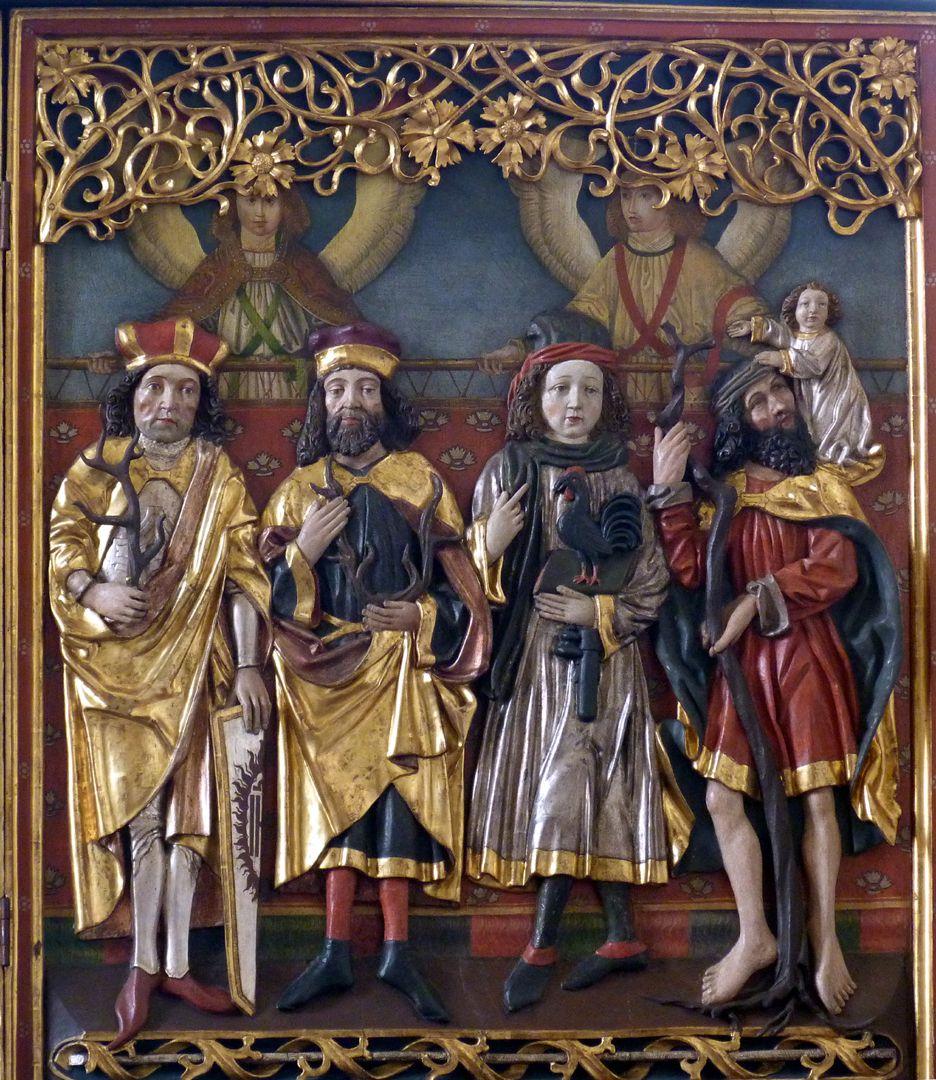 Osternoher Altar rechter Flügel, von l. nach r.: Hll. Achatius, Eustachius, Vitus und Christophorus