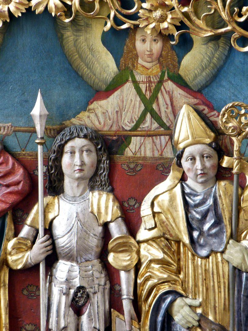 Osternoher Altar linker Flügel, Detail: Hll. Georg und Ägidius