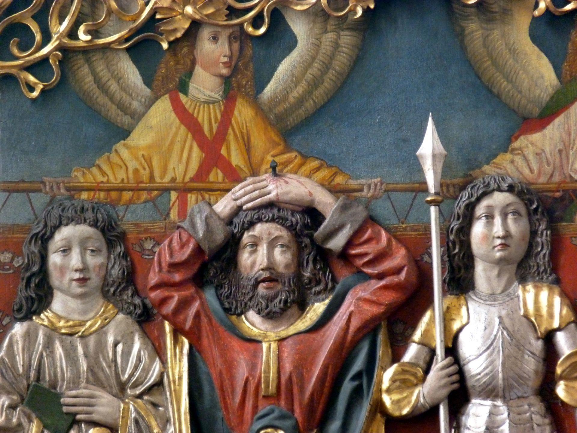 Osternoher Altar linker Flügel, Detail: Hll. Cyriakus, Pataleon und Georg