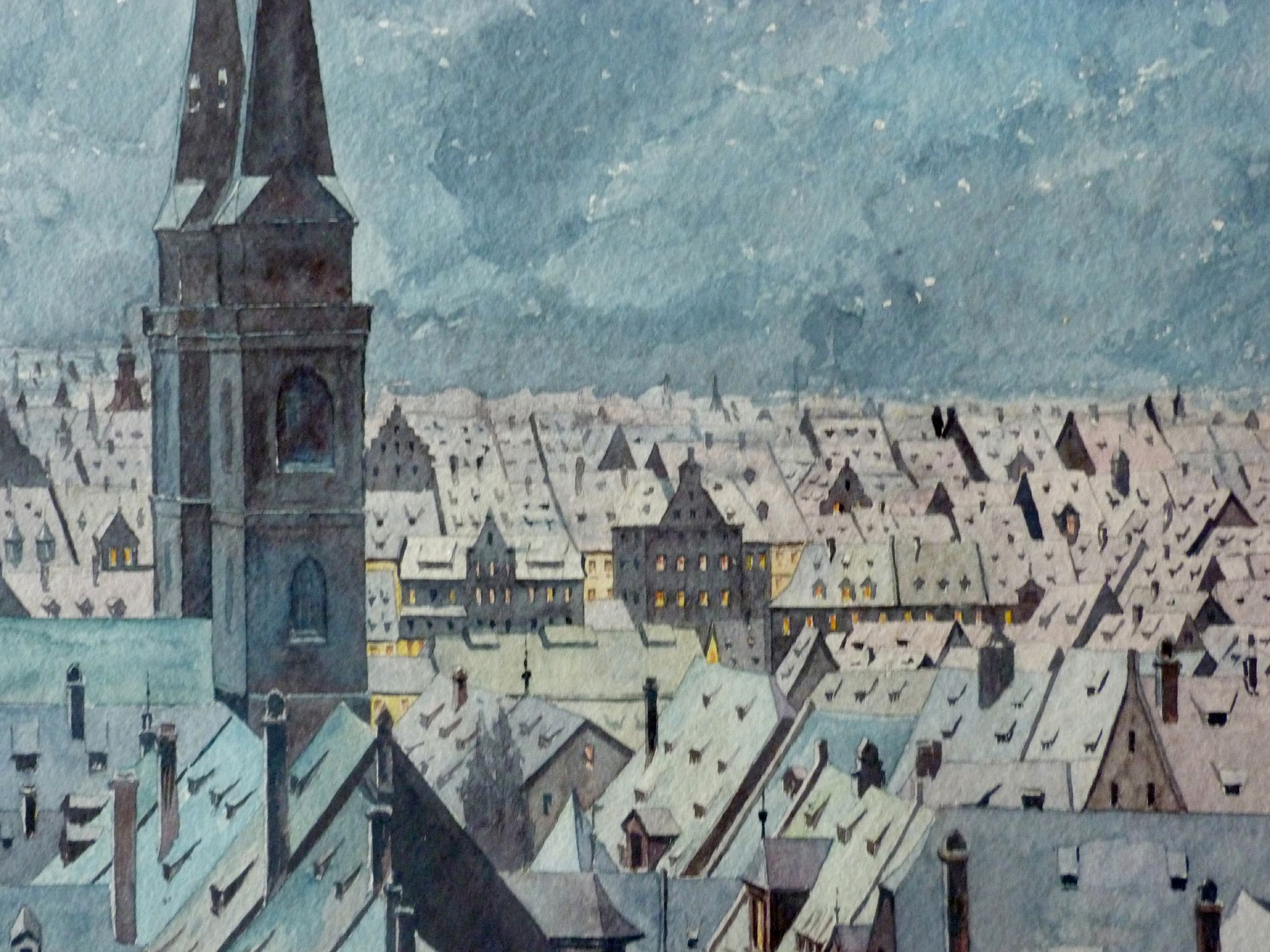 View of St. Sebaldus Old City in winter Detail
