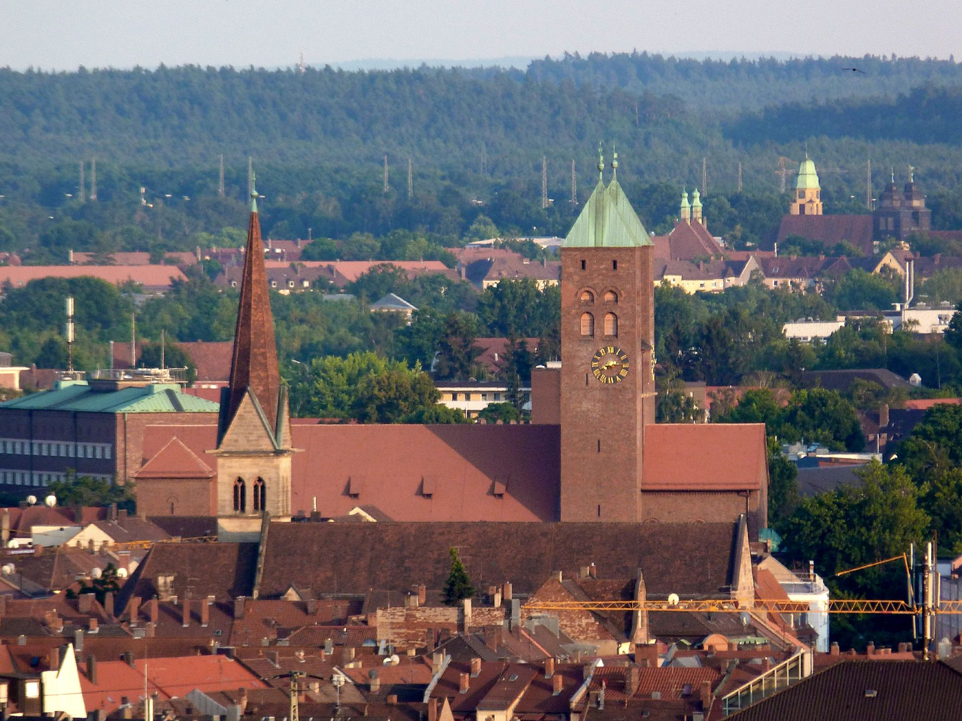 Gustav-Adolf-Memorial-Church View over the roof tops of the southern city, Herz-Jesu-Church in the foreground, marshalling-yard-settlement (Rangierbahnhof-Siedlung) at the back right edge of the picture