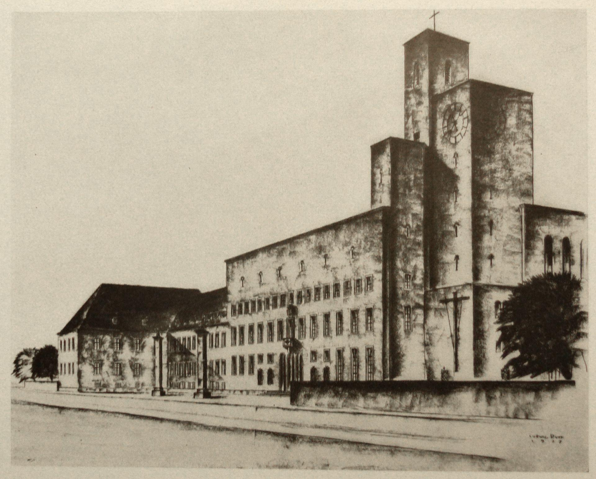 House of the diocese (Bamberg) Drawing of 1927 / / fig. from Nürnberger Kunst der Gegenwart, Rosenmüller, 1928