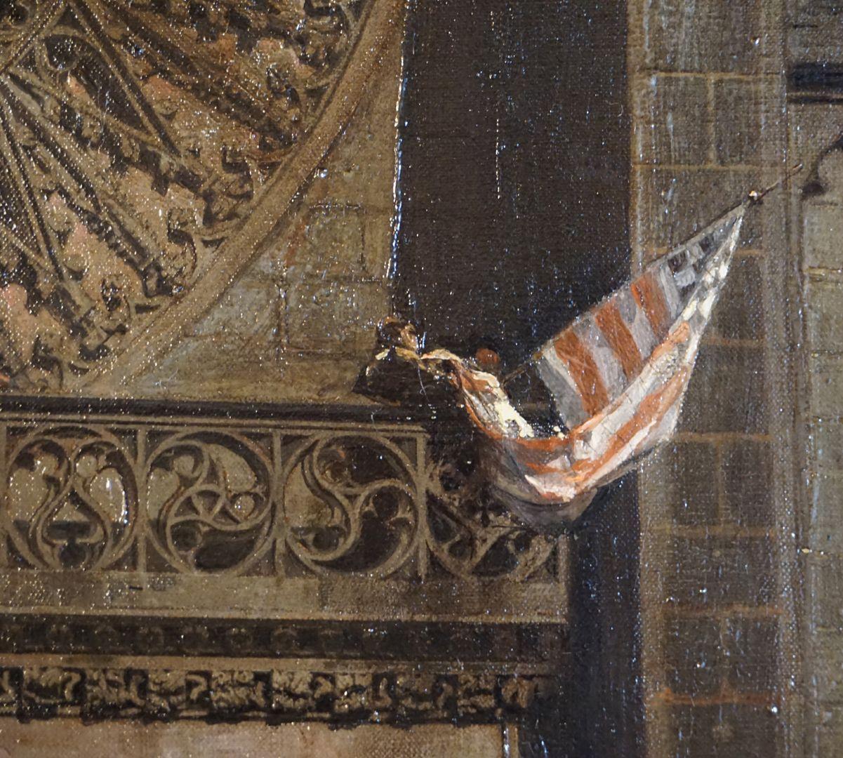 Abschiedsszene Gustav Adolfs und seines Gefolges Laufgang mit Maßwerkbrüstung über dem Hauptportal mit Fahne