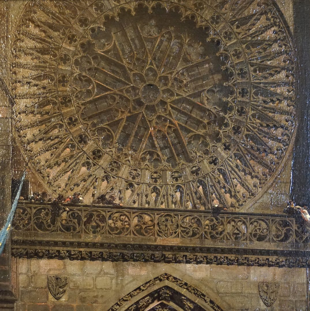 Abschiedsszene Gustav Adolfs und seines Gefolges Rosette der Lorenzkirche und Laufgang mit Maßwerkbrüstung über dem Hauptportal