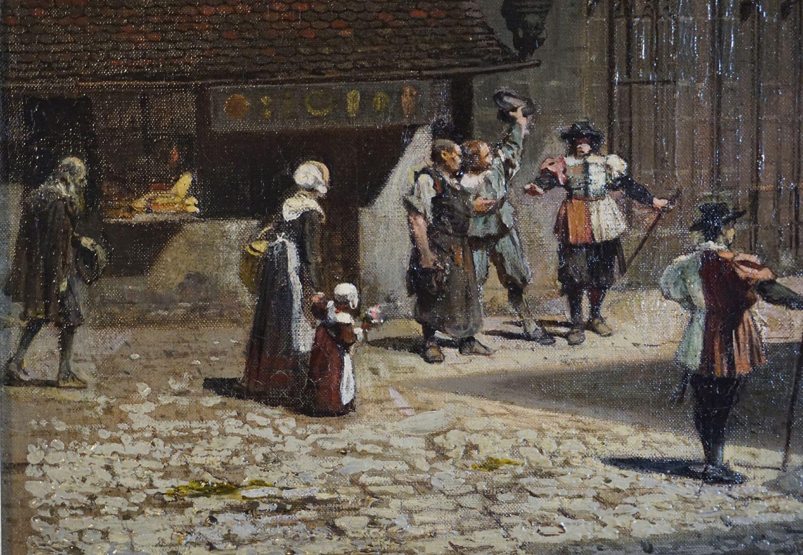 Abschiedsszene Gustav Adolfs und seines Gefolges linker untere Bildrand mit Verkaufsladen und Paul Ritter (?) welcher von links die Szene betritt.