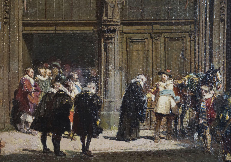 Abschiedsszene Gustav Adolfs und seines Gefolges Hauptszene vor dem Portal