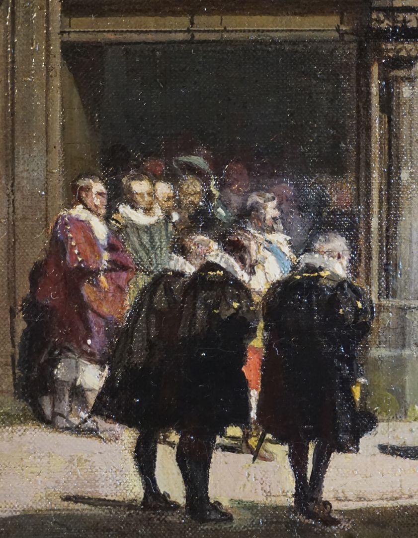 Abschiedsszene Gustav Adolfs und seines Gefolges geöffnetes Portal mit Menschenmenge, im Vordergrund protestantische Geistlichkeit