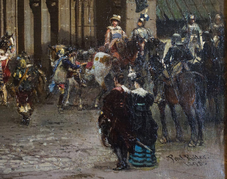 Abschiedsszene Gustav Adolfs und seines Gefolges Bildausschnitt mit Gefolge und Zuschauern, unten rechts die Künstlersignatur