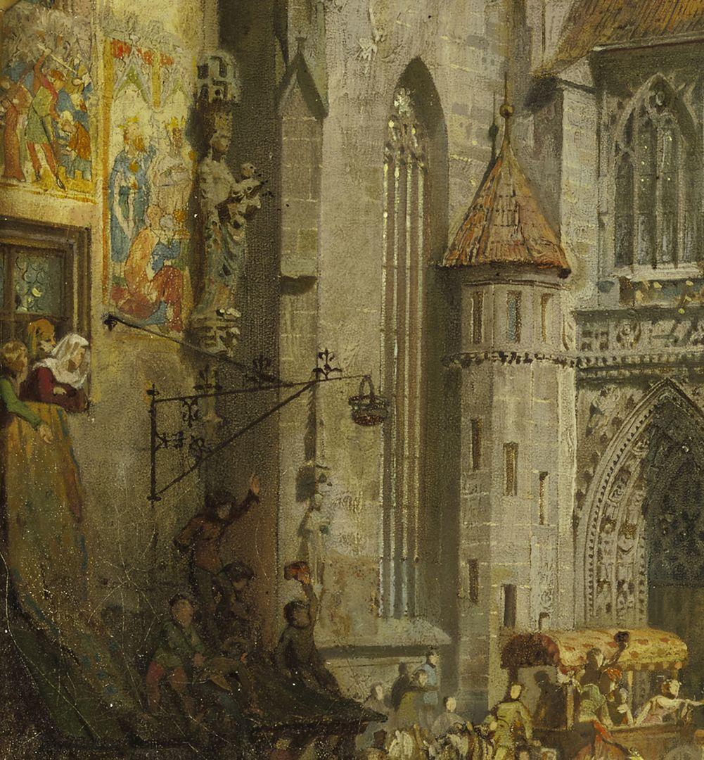 Die Einbringung der Reichskleinodien 1424 (Entwurf) linke Bildhälfte, Detail mit Stromerhaus und Portal zum Hauptmarkt, Nordseite