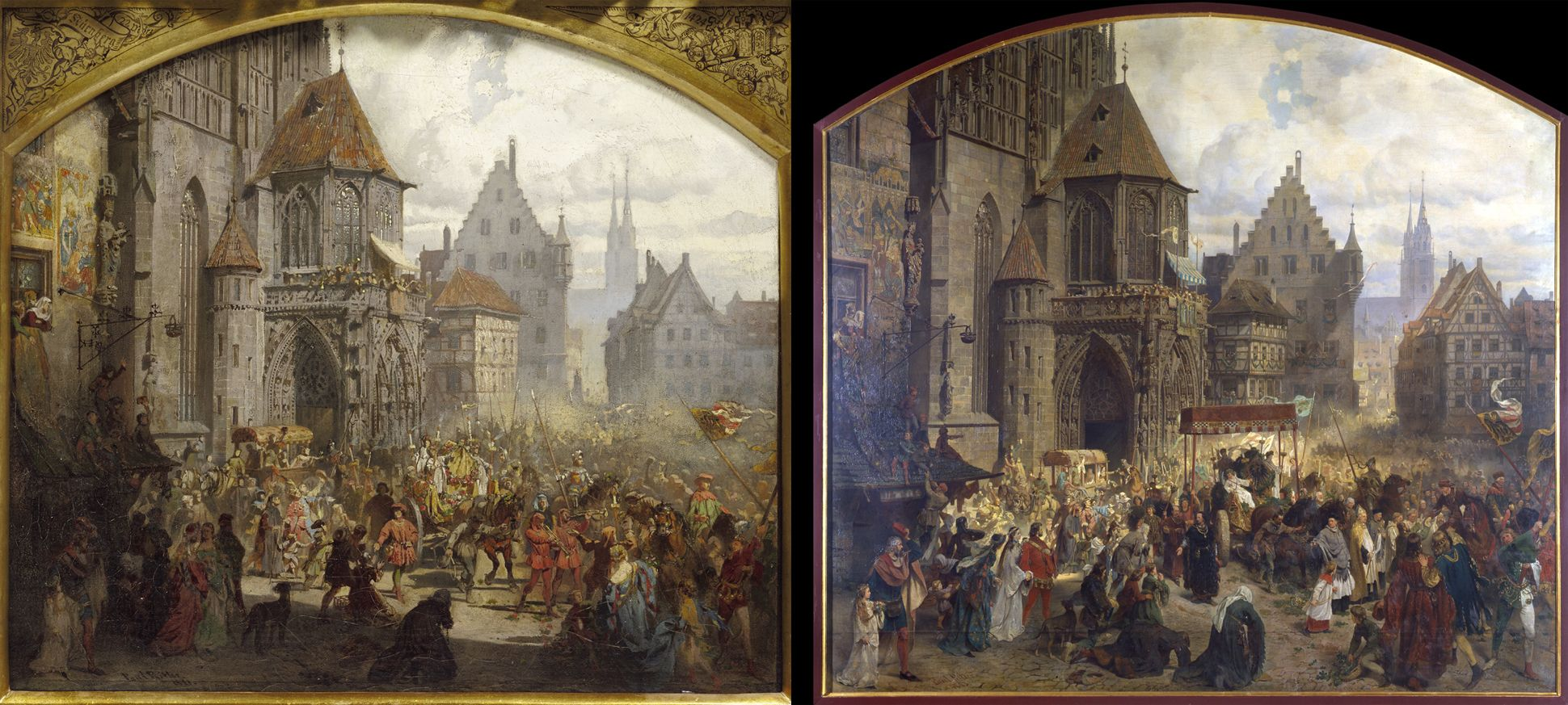 The transfer of the Imperial Regalia in Nuremberg on 22nd March 1424 On the left the presentation draft from 1881 / on the right the executed painting