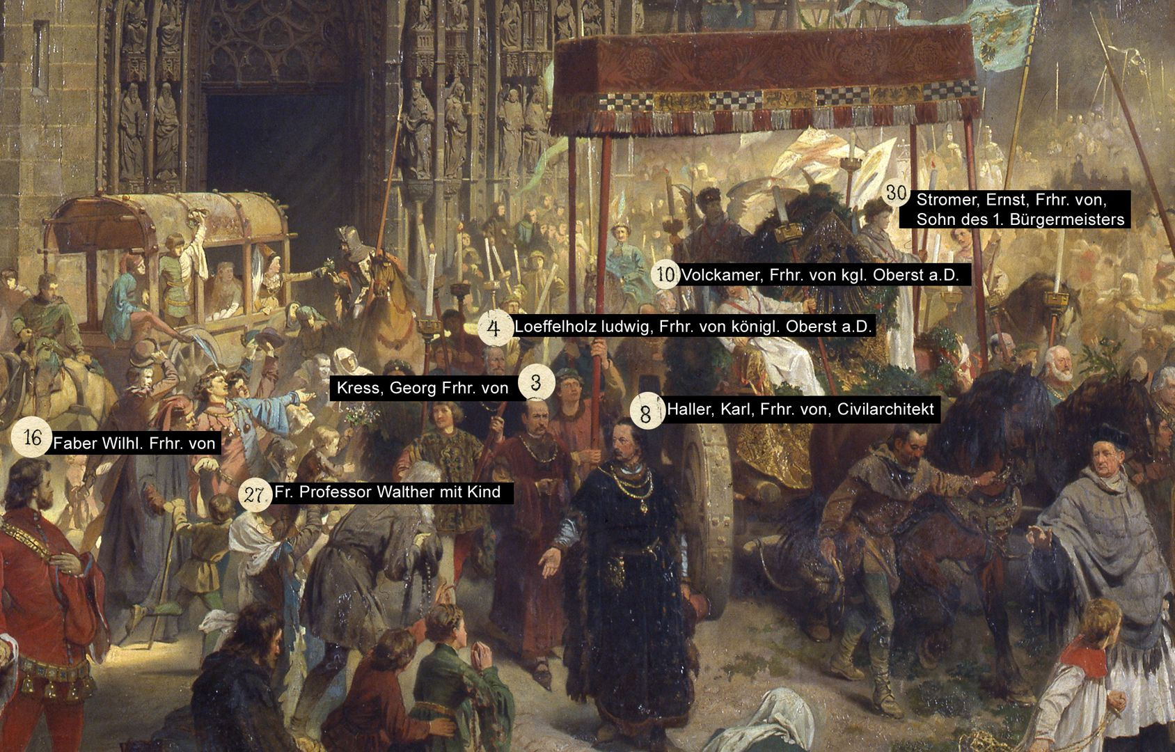 The transfer of the Imperial Regalia in Nuremberg on 22nd March 1424 Selection of persons depicted in the painting