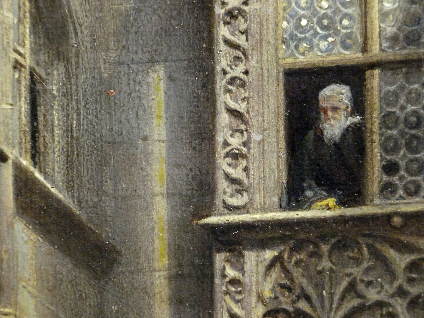 The small town hall courtyard in Nuremberg Upper half of the picture, detail with a self-portrait (?) by Johann Paul Ritter