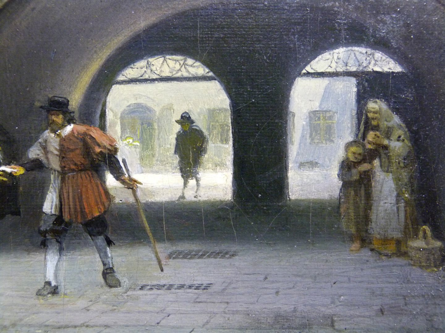 The small town hall courtyard in Nuremberg Picture lower half, detail with town servant and supplicant
