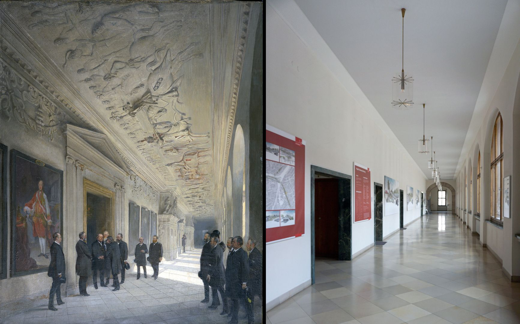70th birthday Karl Crämer Corridor on the second floor of the town hall / state 1888 and summer 2021