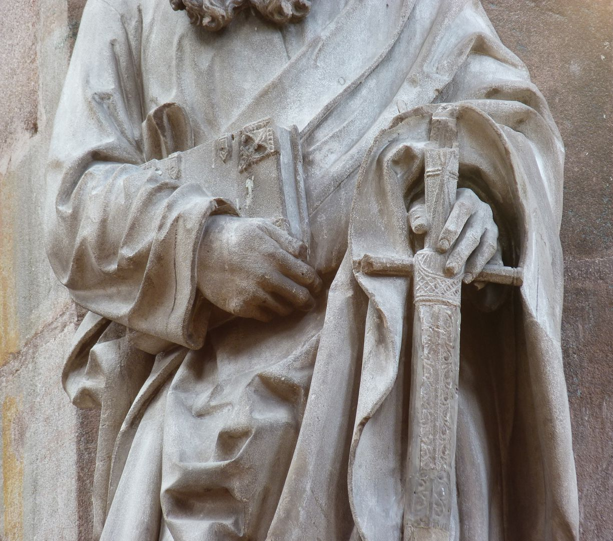 St. Paul Detail view with hands, book and sword