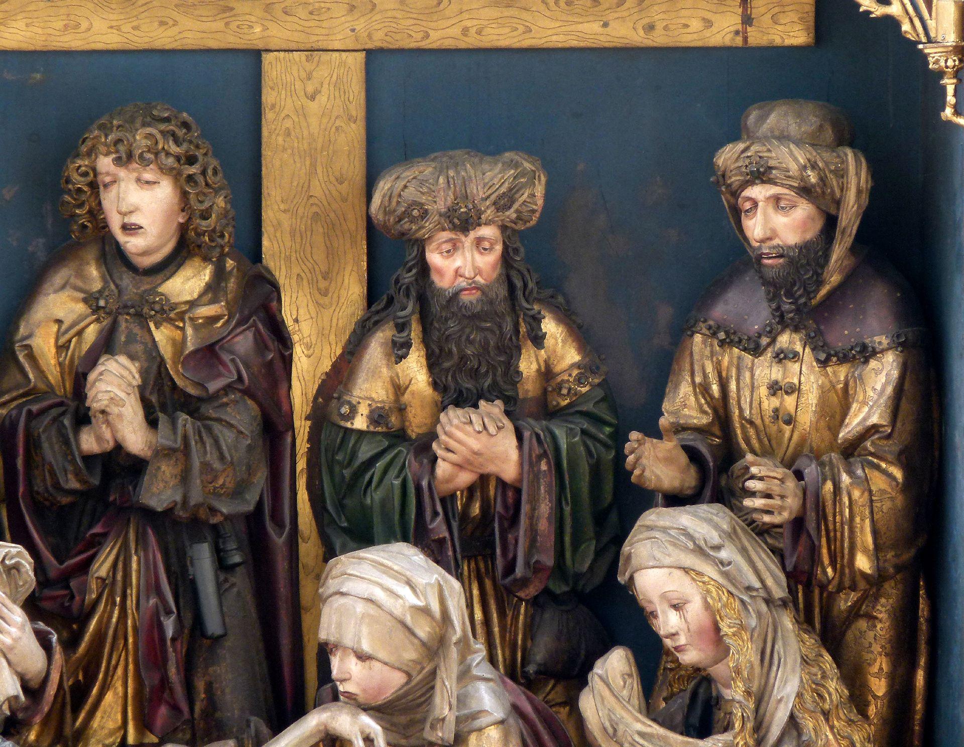 Peringsdörffer Retabel Mittelschrein: Beweinung Christi mit den drei Männern, von l. nach r.: Johannes, Joseph von Arimathia und Nikodemus