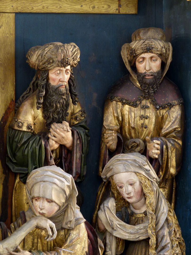 Peringsdörffer Retabel Mittelschrein: Beweinung Christi, Detail mit zwei Männern und zwei Frauen