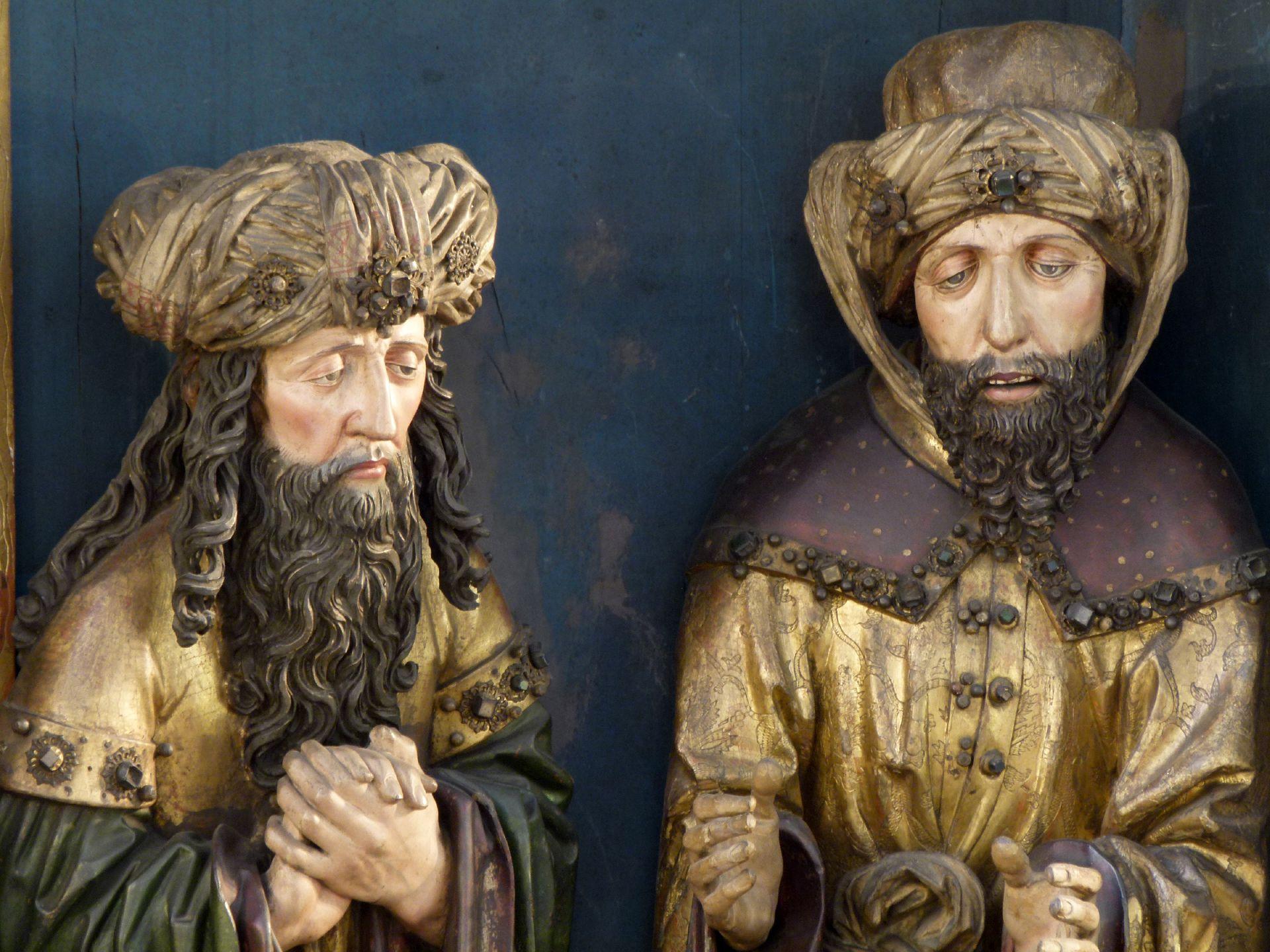 Peringsdörffer Retabel Mittelschrein: Beweinung Christi, Detail: l.: Joseph von Arimathia und r.: Nikodemus